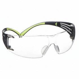 3M Safety Glasses: Clear Mirror, Frameless Frame, Scratch Resistant, Black/Green, ANSI Z87.1-2010/CSA Z94.3-2007, Black