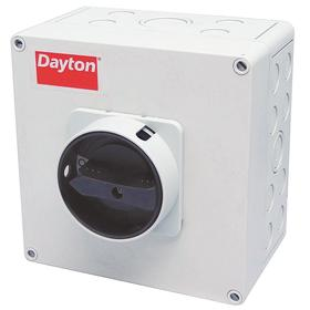 Enclosed Motor Disconnect Knob Switch: Three Phase, 3 Poles, Polycarbonate, 10 hp @ 240V AC Output Power - Single Phase
