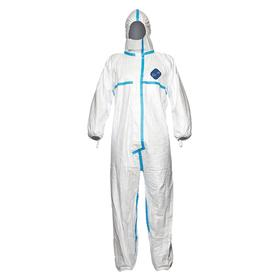 DuPont Coveralls: Tyvek 600, White, Zipper, Attached Hood, Elastic, Taped Seam, 2X-Large Size, Tyvek, Closed, 25 PK