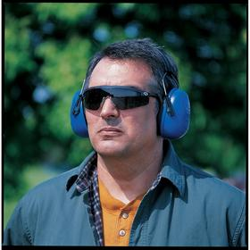 Behind the Neck Earmuffs: 23 dB Noise Reduction Rating, Blue, ABS, PVC, Stainless Steel, ANSI S3.19-1974