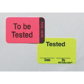 Inventory & Inspection Label: To Be Tested/Tested/Date/By, 1 in Label Ht, 1 1/2 in Label Wd, 250 PK