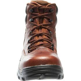 Wolverine Leather Work Boot: Men, Composite, 6 in Shoe Ht, Waterproof Full Grain Leather, Brown, Gen Use, 2E Shoe Wd, 1 PR