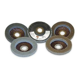 3M Finishing Wheel for Portable Tools: Soft Density Grade, 4 1/2 in Wheel Dia, 7/8 in Face Wd, Silicon Carbide, 5 PK