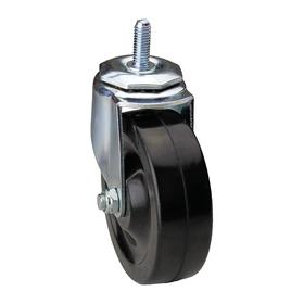 "Threaded-Stem Caster: 3/8""-16 Stem Thread Size, 1 in Stem Lg, Black, Thermoplastic Rubber, 4 in Wheel Dia, Delrin, Steel"