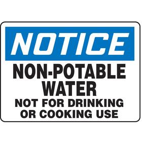 Accuform Food & Water Sanitation Sign: 7 in Overall Ht, 10 in Overall Wd, Vinyl, Self-Adhesive, English, Notice, Text, White