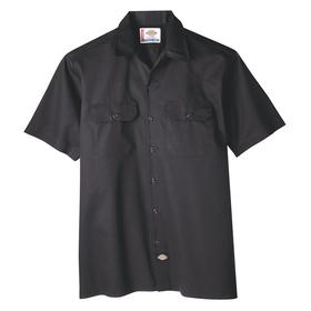 Work Shirt: Black, M Size, Cotton Twill/Polyester, Button, 45.5 in Max Chest Size, 2 Pockets, Short Sleeve Lg Type, Men