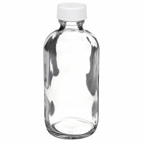 Bottle: Glass, Clear, Natural/White, Polypropylene, 60 mL Max Capacity, mL, 1 1/2 in Overall Dia, 24 PK
