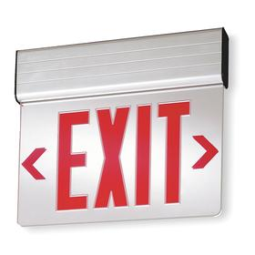 Acuity Lithonia Lighted Exit Sign: 2 Faces, Directional Indicators, Red, 11 3/4 in Overall Ht, 13 5/8 in Overall Lg