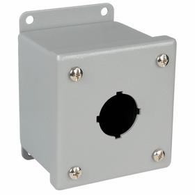 Oil Tight Pushbutton Enclosure: 30 mm Pushbutton Hole Dia, Powder Coat, Steel, 1 Pushbutton Holes, 4.5 in Exterior Ht