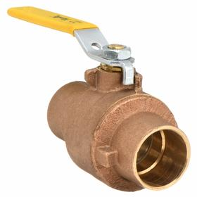 Conbraco Ball Valve: 2-Piece, Full Port Classification, Bronze, Chrome Plated Brass, Lever, Sweat, 3/4 in Pipe Size (Port 1)