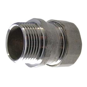 Rigid Conduit Compression Connector: Connector Fitting Type, Male, 1.7 in Overall Lg, 316 Stainless Steel, EMT, Brite