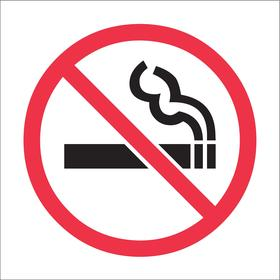 Brady No Smoking Sign: 3/4 in Overall Ht, 3/4 in Overall Wd, Vinyl, Self-Adhesive, Graphic, White, 36 PK