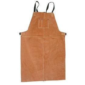 Split Leather Bib Apron: Knee Lg Type, Dark Brown, 2 Pockets, One Size Fits All Size, Brown, Sewn Seam, 36 in Overall Lg