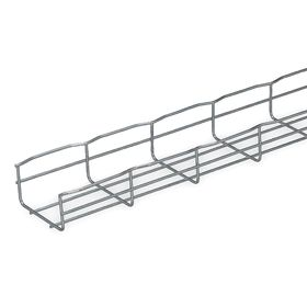 Wire Mesh Cable Tray: 4 in Overall Wd, 2 in Overall Ht, 6.5 ft Overall Lg, 22 lb Load Capacity, Steel, Electrozinc, 4 PK