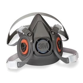 3M 6000 Half Mask Respirator: L Size, Dual, Bayonet, Thermoplastic Elastomer, Exhalation Valve, 4-Point