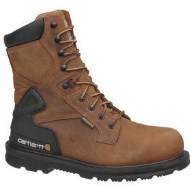 Leather Work Boot: Waterproof, E Shoe Wd, 8 Men's Size, Men, Steel, 8 in Shoe Ht, Brown, Electrical Hazard Rated, 1 PR