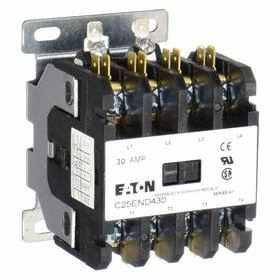 Eaton Definite Purpose Contactor: 4 Poles, Std Body, 208/240V AC Input Volt, 2 hp - Single Phase @ 120V, Single/Three Phase