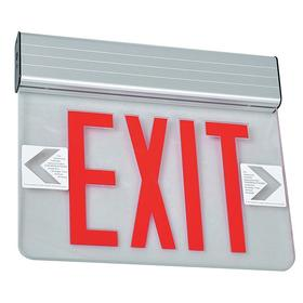 Heavy Duty Metal Lighted Exit Sign: Aluminum, 1 Faces, Directional Indicators, Red, Batteries Required, Batteries Incl