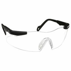 Smith & Wesson Safety Glasses: Clear, Frameless Frame, Scratch Resistant, Black, ANSI Z87.1+2010, Nylon, Adj Temples