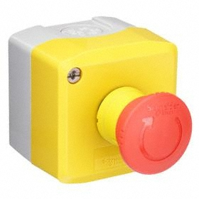 Schneider Electric Emergency Stop Push Button Station: Maintained, No Legend, Red, 2.67 in Overall Wd, 2.67 in Overall Ht, Round