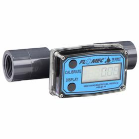 Flowmeter: 200 gpm Max Flow Rate, PVC, NPT, 20 gpm Min Flow Rate, For 2 in Pipe Size, 100 Pulses per Gallon