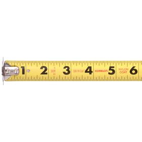 Magnetic Tip Tape Measure: 30 ft Tape Lg, 1 in Tape Wd, Manual, Plastic Case, Nylon