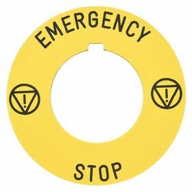 Schneider Electric Push Button Legend Plate: 30 mm Compatible Panel Cutout Dia, Round, Emergency Stop, Yellow, Black