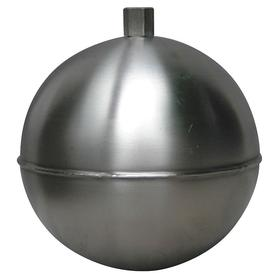 Float Ball: Stainless Steel, Round, External, 10 in Float Dia, 80 oz Float Wt, 3/8 in Thread Size, NPT, Grey
