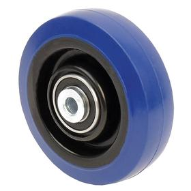 Nonmarking Rubber Tread Caster Wheel: 3 1/2 in Wheel Dia, Soft Relative Tread Hardness, Blue, Nylon, Ball, Crowned