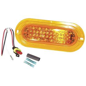 Permanent Mount Vehicle Warning Light: Oval, 7 7/8 in Overall Lg, 1 5/8 in Overall Ht, Amber, 12.0 V DC Volt