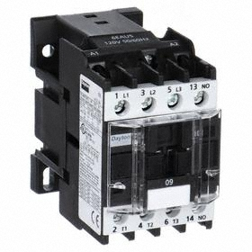 IEC Contactor: 4 Poles, Single/Three Phase, 9 A Current Rating, 240V AC Control Volt, 1 hp - Single Phase @ 120V