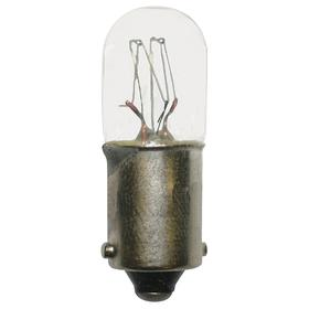 Incandescent Miniature Light Bulb: T3 1/4, BA9S, 2.4 W Watt, 130V, 3 lm, 1 3/16 in Overall Lg, 7/16 in Bulb Dia