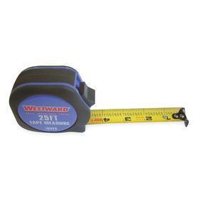 Tape Measure: Blue, 25 ft Tape Lg, 1 in Tape Wd, Plastic, Nylon