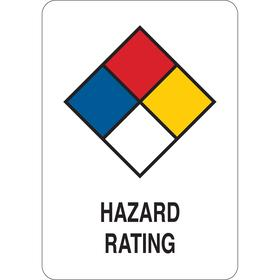 Hazardous Material Sign: 10 in Overall Ht, 7 in Overall Wd, Plastic, Mounting Holes, Hazard Rating, White