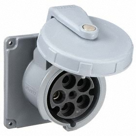 Hubbell IEC Non-Metallic Watertight Pin & Sleeve Female Receptacle: Single Phase, 4 Contacts, 60 Hz Volt Freq, 100 A Current