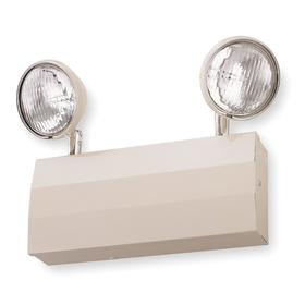 Acuity Lithonia Impact Resistant Emergency Light Fixture: Halogen, 2 Lightheads, 90 min Emergency Illumination Time, Beige