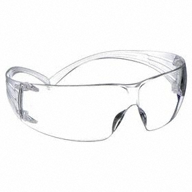 3M Safety Glasses: Clear, Frameless Frame, Anti-Fog, ANSI Z87.1-2010/CSA Z94.3-07, Polycarbonate, Self-Adj Temples
