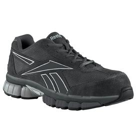 Reebok Athletic-Style Work Shoe: Men, Composite, Leather, Black/Silver, Gen Use, Electrical Hazard Rated, Better Mfr Suggested Sole Slip Rating, 1 PR