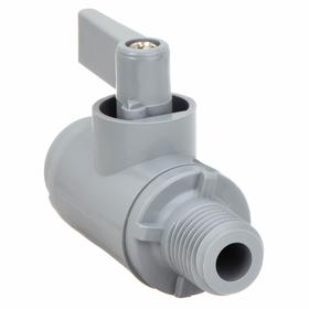 Ball Valve: PVC, 1-Piece, Full Port Classification, Wedge, 1/4 in Pipe Size (Port 1), 125 psi Cold Working Pressure (CWP), Buna-N