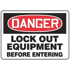 Lockout-Tagout Sign: Danger, 10 in Overall Ht, 14 in Overall Wd, Aluminum, Mounting Holes