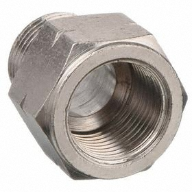 Alpha Fittings Brass Pipe Adapter: Nickel Plated, 1/4 Port 1 Pipe Size, 3/8 Run 1 Pipe Size, Female, BSPP, Male, NPT