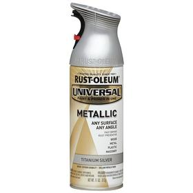 Rust-Oleum Spray Paint: Titanium Silver, Metallic, 1 hr Dry Time, 10 to 15 sq ft, 11 fl oz Container Size, Sprayer