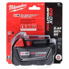 Milwaukee Cordless Tool Battery: Li-Ion, For Milwaukee M18 Tools, 18V DC Output Volt, 5 Ah Capacity