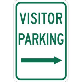 Brady Parking Sign: 18 in Overall Ht, 12 in Overall Wd, Aluminum, Non-Reflective, Visitor Parking, White, Right Arrow