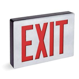 Acuity Lithonia Lighted Exit Sign: 1 Faces, Directional Indicators, Red, 7 7/8 in Overall Ht, 11 3/8 in Overall Lg, 1 3/4 in Overall Dp, Aluminum