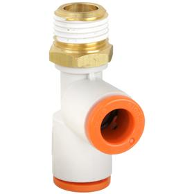 Compact Push-to-Connect Run Tee: 5/32 in Port 1 Tube Size, 5/32 in Port 2 Tube Size, 1/4 Pipe Size (Port 3), NPT