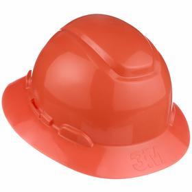 3M Hard Hat: Ratchet, Without Side Slots, ANSI Impact Type Rating I, ANSI Electrical Class Rating E, 4-Point, 6 5/8 Min Hat, Orange