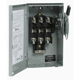 Eaton Safety Switch: Three Phase, 3 Poles, Steel, 30 A at 240V AC Switch Rating, 6 1/4 in Enclosure Ht, NEMA 3R NEMA Rating