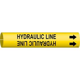 Brady Snap-On Pipe Marker: Hydraulic Line, Black, Yellow, 13/16 in Label Ht, 13/16 in Label Wd, 3/4 in Min Pipe OD
