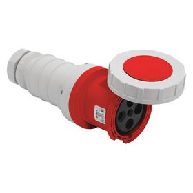 Hubbell Pin & Sleeve Connector: 4 Pins, Three Phase, 100 A Current, 480V AC, 3 Poles, Nylon, Red Color, Brass, Socket